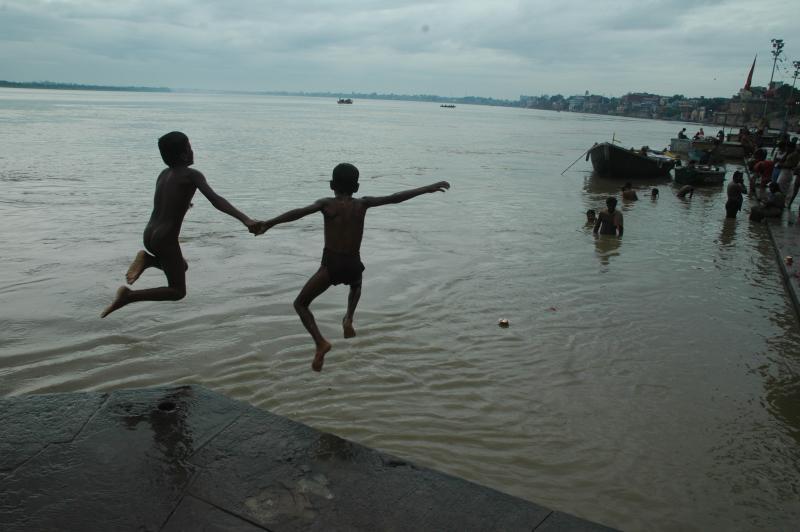 Water games - how far? Ghats, Varanasi, India