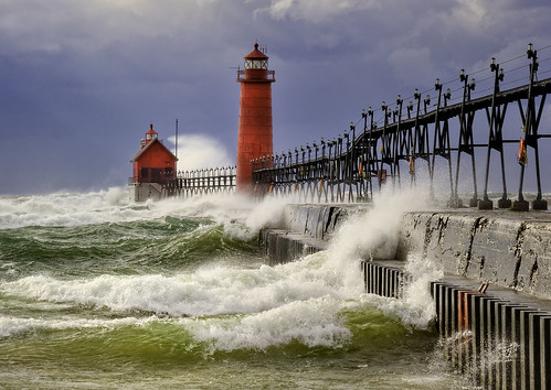 """October Gale"" Grand Haven lighthouse, Grand Haven Michigan"