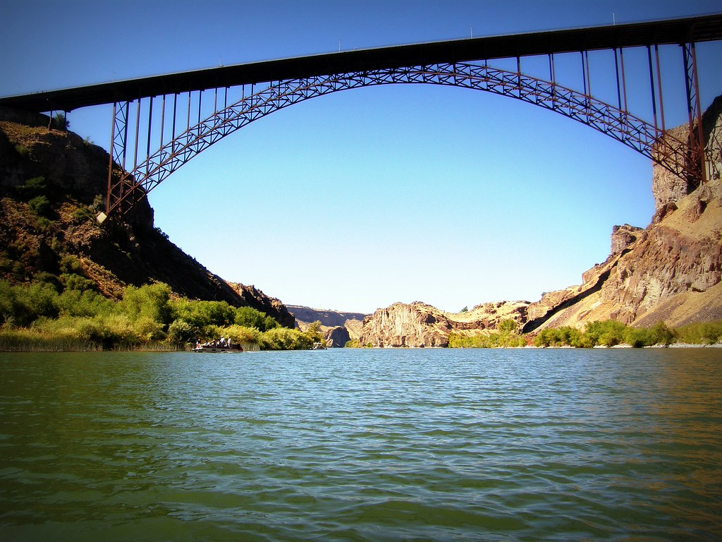 Perrine Bridge in Twin Falls as seen from the Snake River Below