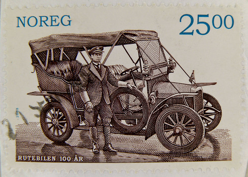 great norwegian stamp Noreg 25.00 kr. postzegel Norge Norwegen Norway Rutebilen 100 AR timbre briefmarke
