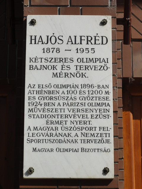 Hajós Alfréd plaque at the National Swimming Pool in Budapest