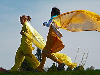 girls running in the wind