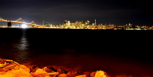 San Francisco and Bay Bridge at night 旧金山夜景
