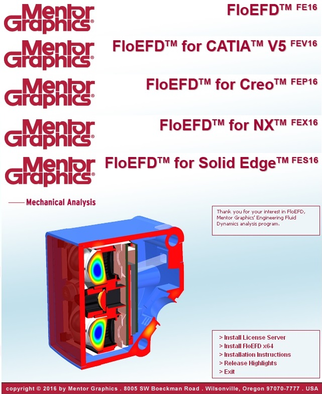 Mentor Graphics FloEFD 16.1.37xx Standalone NX CATIAV5 Creo SolidEdge Suite x64