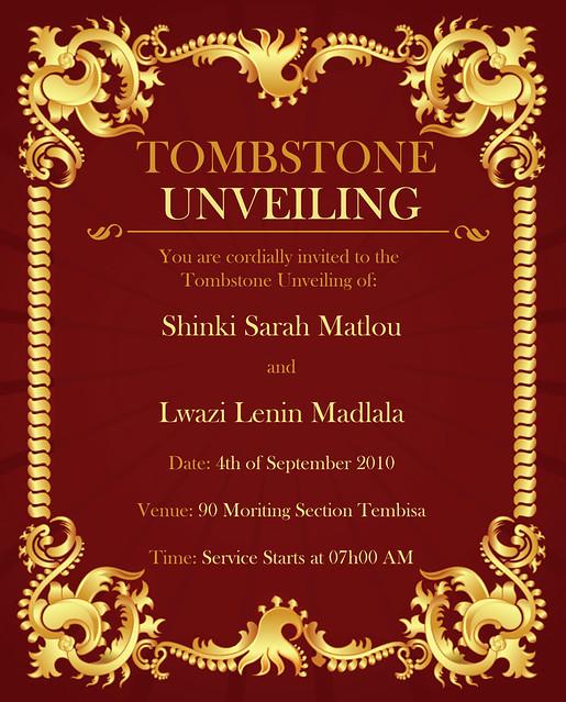 tombstone unveiling invitation wording Invitationjpgcom
