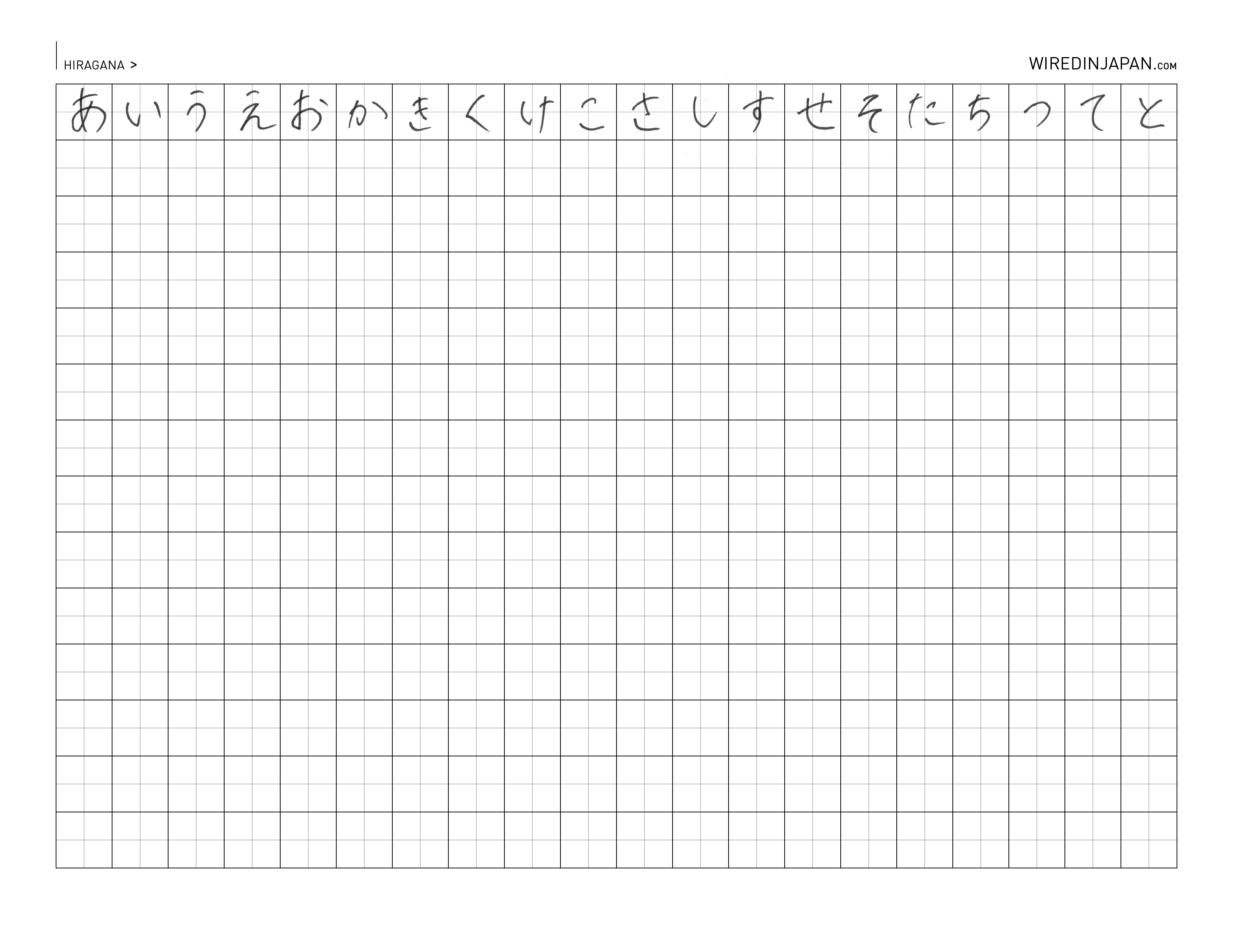 Wired Kana Hiragana And Katakana Practice Sheet