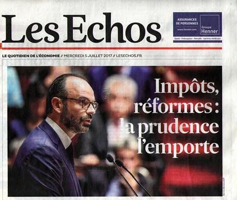 17g05 Les Echos sobre programa gobierno Macron Edouard Philippe Uti 465