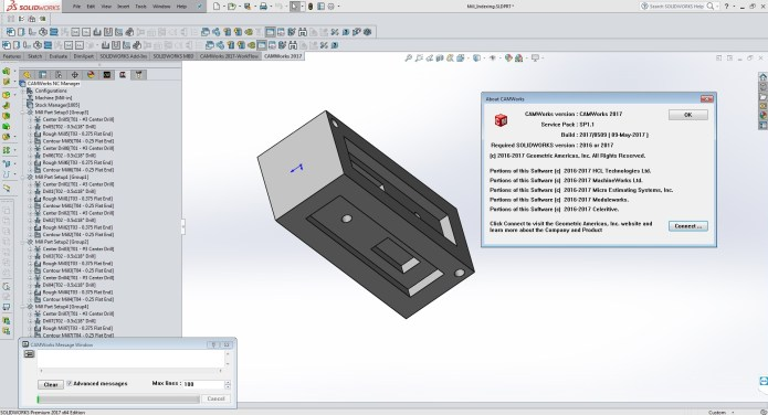 Working with CAMWorks 2017 SP1.1 for SolidWorks 2016-2017