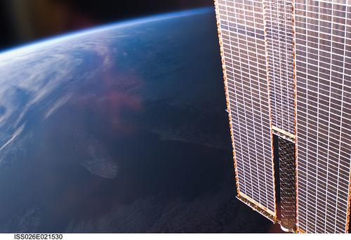 Solar Array Panels Over Earth (NASA, International Space Station, 01/01/11)