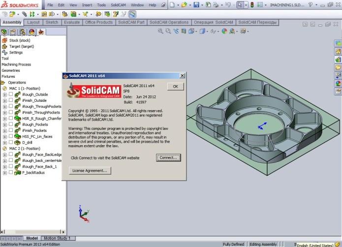 Program with SolidCAM 2011 SP8 for SolidWorks 2009-2013 32bit 64bit full crack