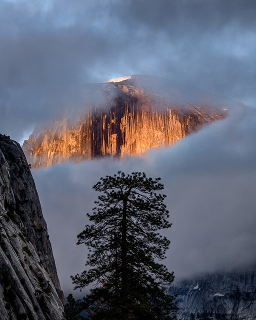 Half Dome Behind Parting Clouds