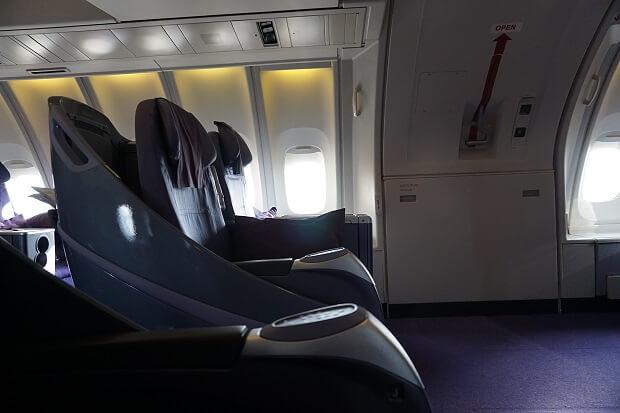 170505 タイ航空ボーイング747ビジネスクラスシートピッチ非常口座席