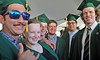 School of Ocean and Earth Science and Technology geology  and geophysics graduates, from left, Danny Powell, Liliane Burkhard, Sam Clairmont, Gavin Zirbel, Sebastian Quinn and James Mifflin at  UH Manoa's spring 2017 commencement ceremony at the Stan Sheriff Center on Saturday, May 13, 2017.