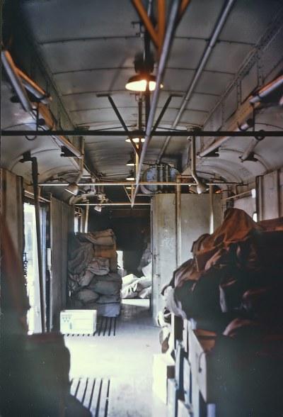 Interior of C&O baggage car 280 on B&O Train 11, the Metropolitan at Clarksburg, WV on July 25, 1970