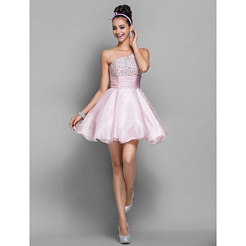 PRINCESS ONE SHOULDER SHORT MINI ORGANZA