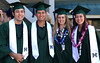 UH golfers Zachary Braunthal, Pono Tokioka, Raquel Ek, and Kelli-Anne Katsuda at UH Manoa's spring 2017 commencement ceremony at the Stan Sheriff Center on Saturday, May 13, 2017.