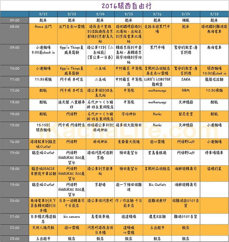 2016日本行程表