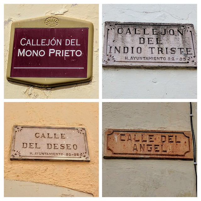 Guanajuato is famous for the quirky names of its alleyways, but Zacatecas has some great street names too. From top left, clockwise: Alleyway of the Dark Monkey, Alleyway of the Sad Indian, Street of the Angel, and Street of Desire.