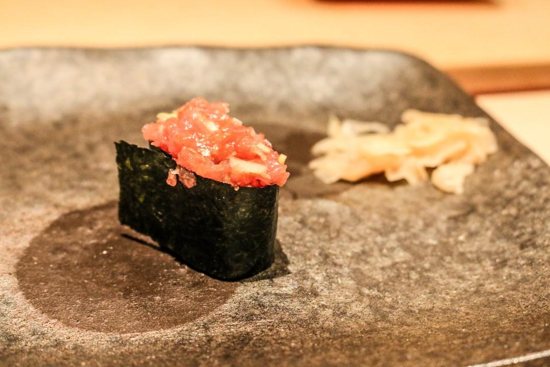 Negitoro (chopped tuna) sushi