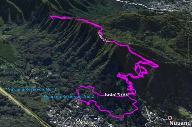 Nuuanu-Judd Trail Google Earth Image