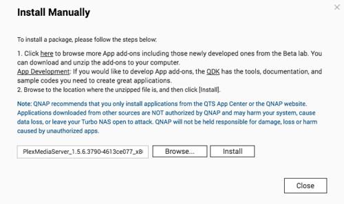 คลิก Browse เลือกไฟล์ .qpkg แล้วคลิก Install