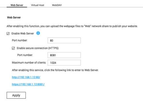 ก่อนอื่นก็เช็คให้แน่ใจก่อนว่า ได้ Enable Web Server แล้วหรือยัง