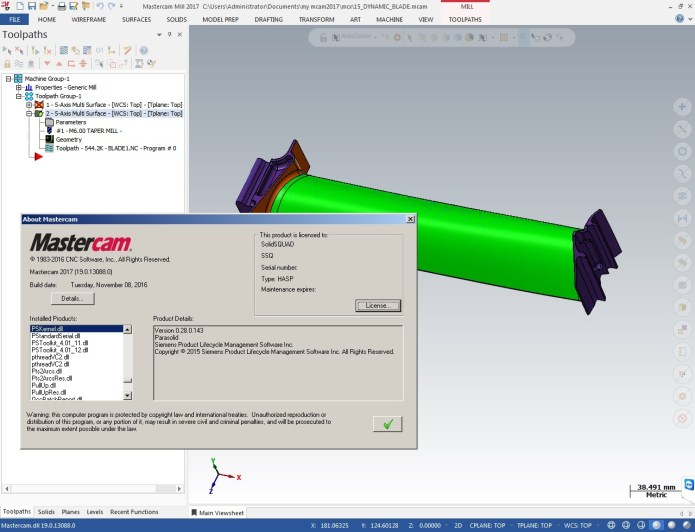 Program 5 axis with mastercam 2017 full license