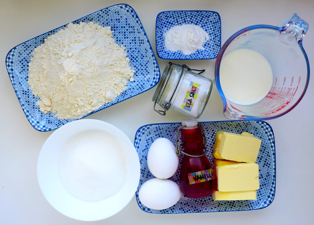 Mise-en-place browned butter vanilla cake