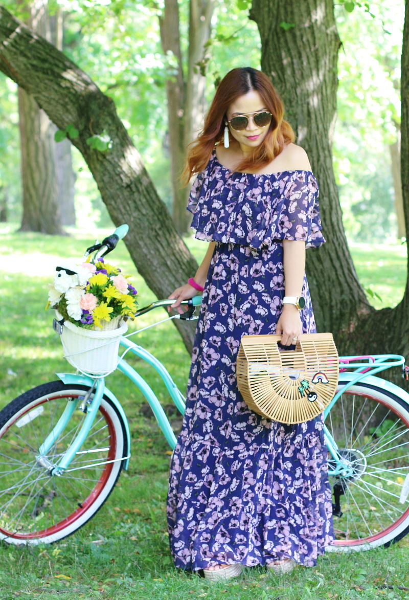 floral-off-shoulder-maxi-dress-cult-gaia-ark-bag-bike-2