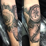 Rose healed the rest fresh. Done at New Wave Tattoo for Ben. Thankyou mate! #rose #compass #anchor #blackandgreytattoo