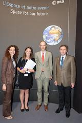 Graham Turnock visits with Christina Gianopapa and Kai-Uwe Schrogl the ESA Pavilion