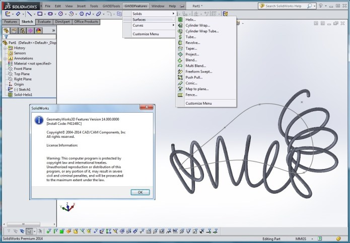 Design with GeometryWorks 3D Features V14.0 for SolidWorks 2014 full
