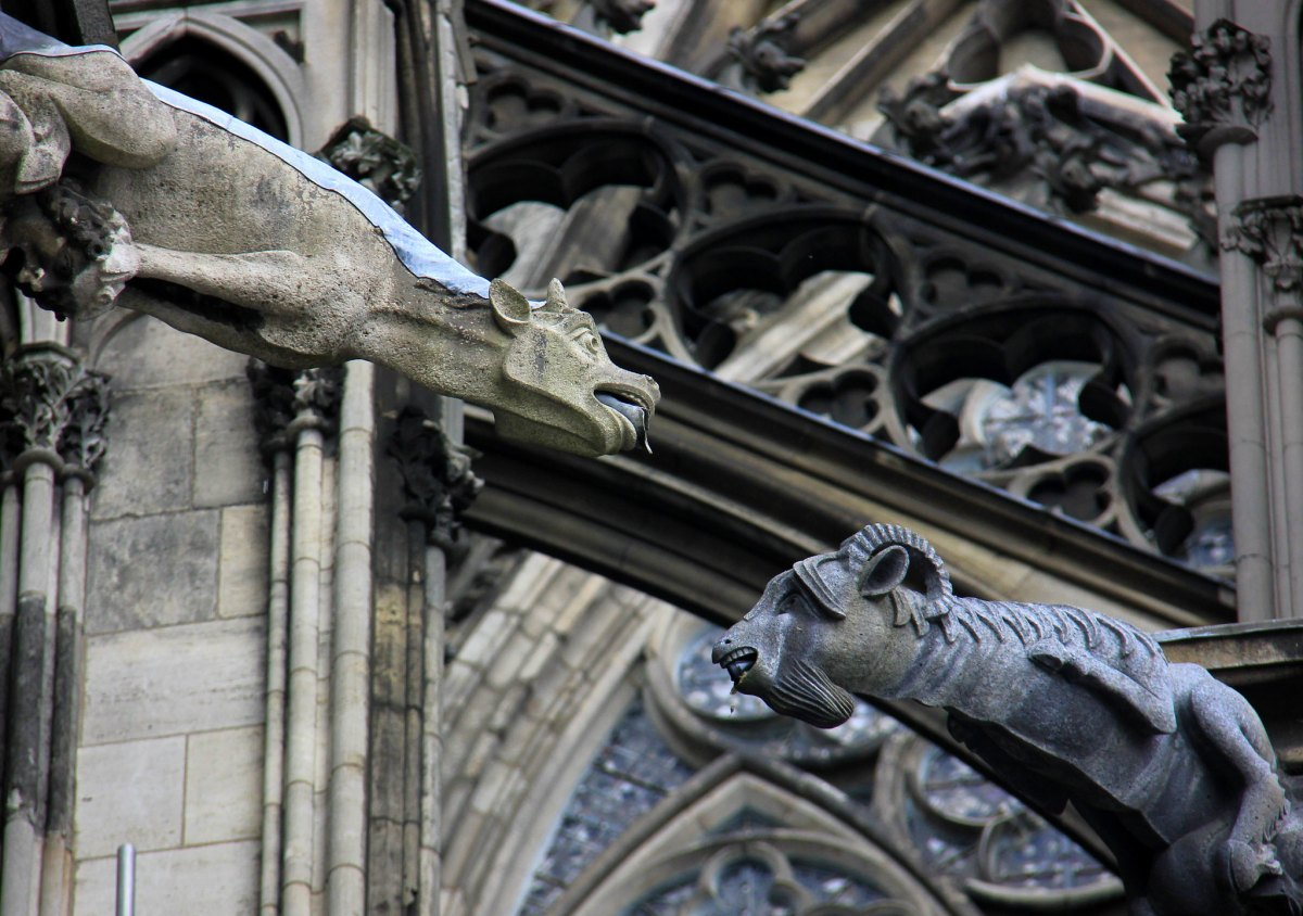 Gargoyles on the exterior of the Cologne Cathedral