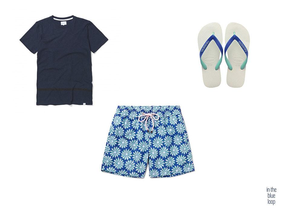 Bañador hombre con camiseta azul y chanclas para el verano