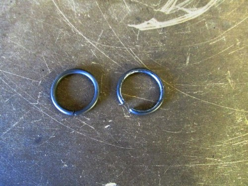 (Left) New Input Shaft Snap Ring; (Right) Old One Has Expanded