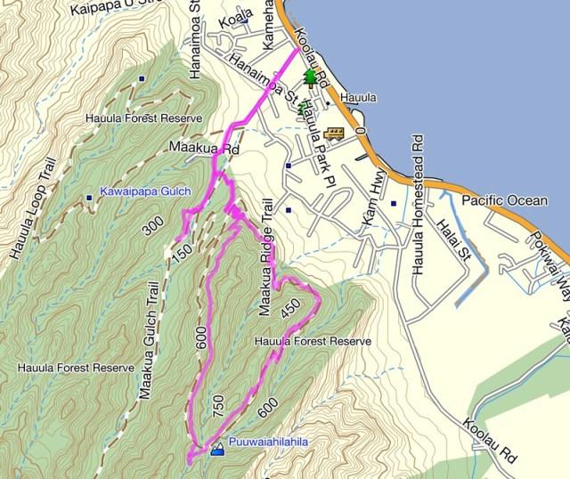 Makua Ridge Trail Topo Map