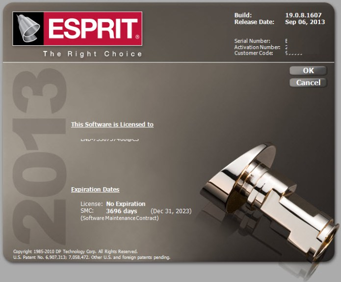 Information of DP Technology ESPRIT 2013 R3