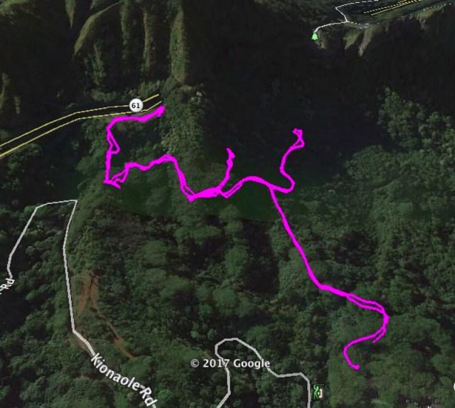 Likeke Trail Google Earth Image