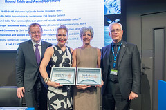 Jan Woerner, Olympia Kyriopoulos, Claudie Haigneré, Chris Welch during the WIA-E Awards Ceremony at ESA Pavilion