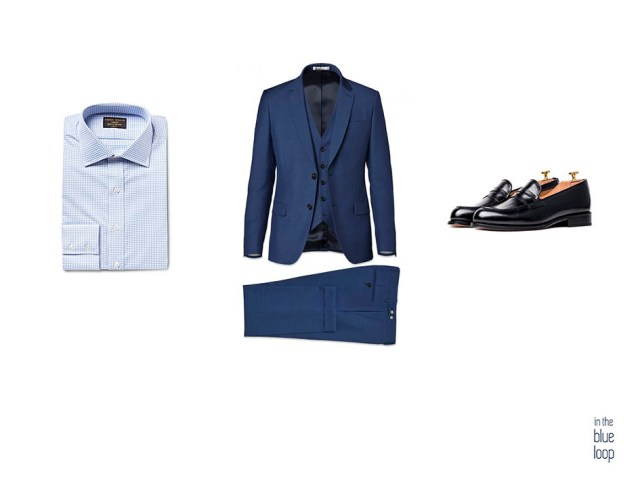 Traje masculino  3 piezas con camisa azul masculina y zapatos loafer para hombre