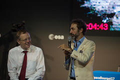 Jan Woerner and Luca Del Monte during the 'Space 4.0ur future: up and start' discussion