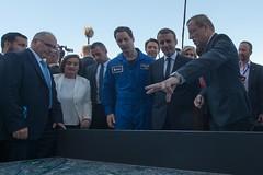 President Emmanuel Macron meets Thomas Pesquet, and Jan Woerner