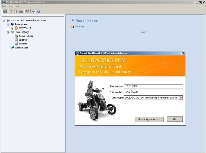 Working with solidworks PDM 2017 administrator tools