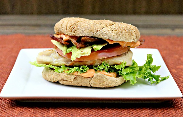 Grilled chicken sammich with roasted red pepper sauce