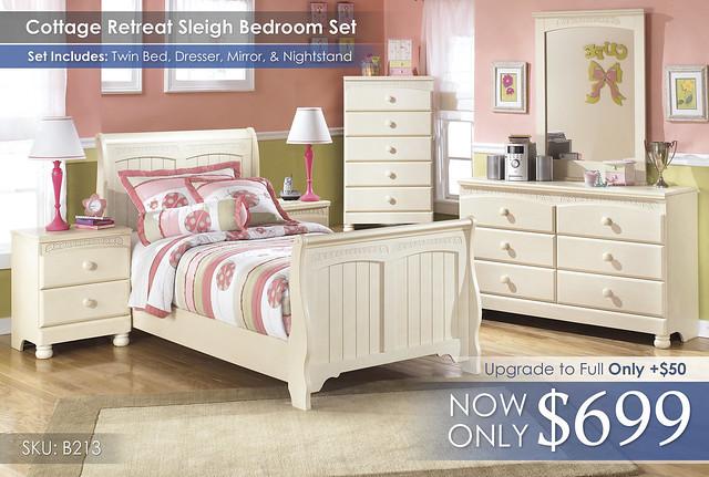Cottage Retreat Sleigh Bedroom Set B213-21-35-46-63-62-82-92-SD