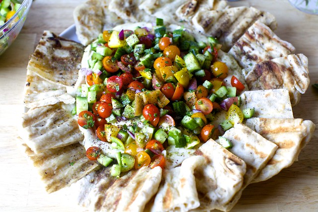 hummus with tomato-cucumber salad