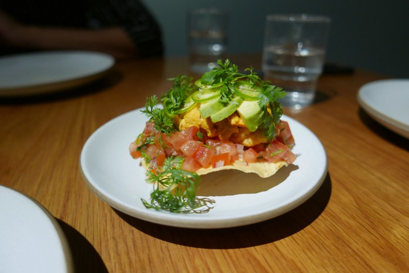 Uni Tostada, Avocado, Bone Marrrow Salsa, Cucumber Vinaigrette ($21)