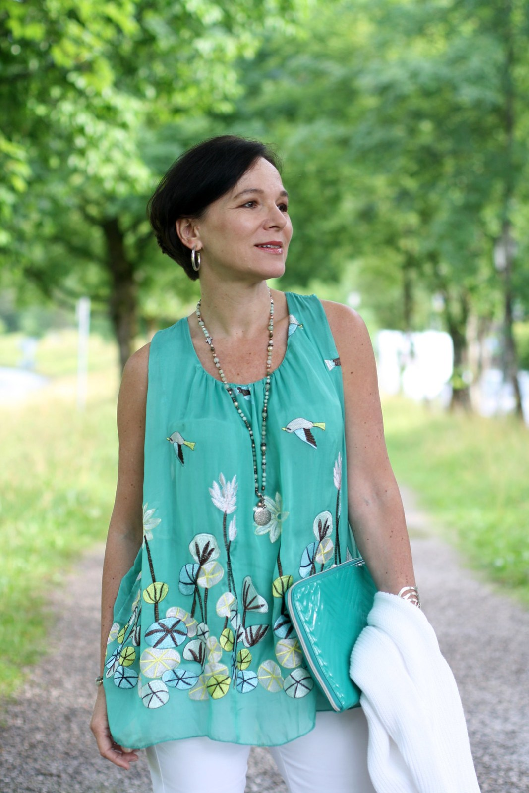 Mint Turquoise White Summer Top LadyofStyle
