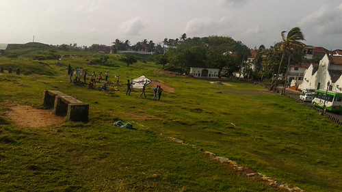 Locals Launching a Kite At Galle Fort Sri Lanka