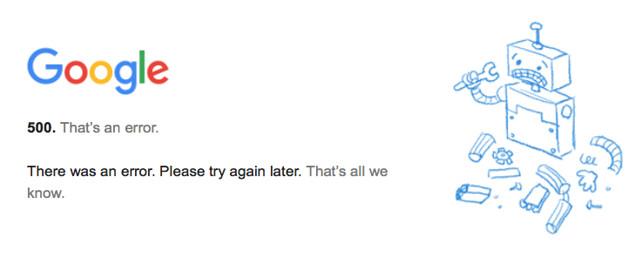 Google 500 error